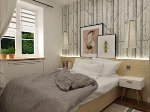 metamorfoza mieszkania 50 m2 w kamienicy - Mała biała szara sypialnia, styl skandynawski - zdjęcie od Grafika i Projekt architektura wnętrz