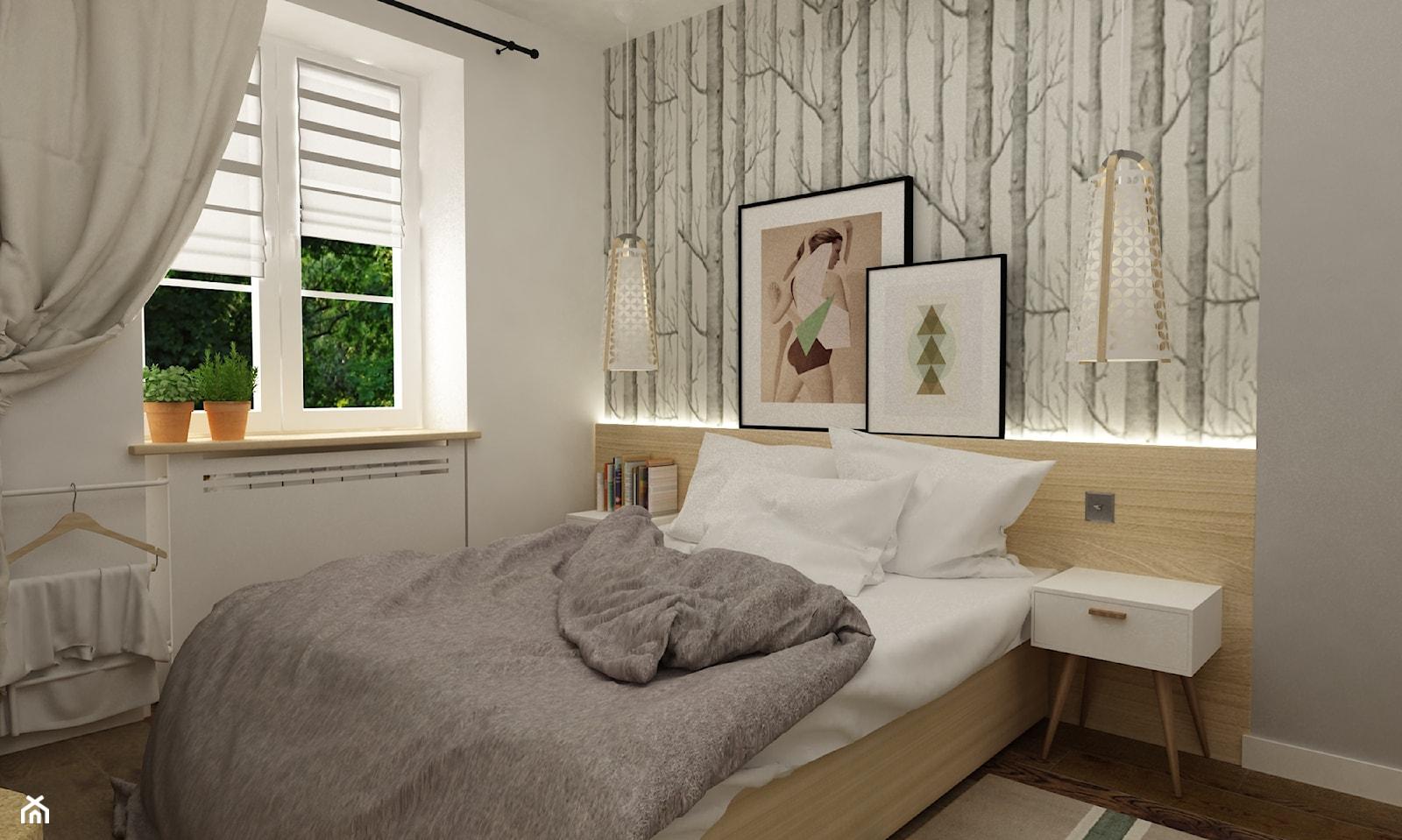 metamorfoza mieszkania 50 m2 w kamienicy - Mała biała szara sypialnia, styl skandynawski - zdjęcie od Grafika i Projekt architektura wnętrz - Homebook