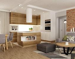 dom ok 100m2 metamorfoza - Średni salon z kuchnią z jadalnią, styl nowoczesny - zdjęcie od Grafika i Projekt architektura wnętrz