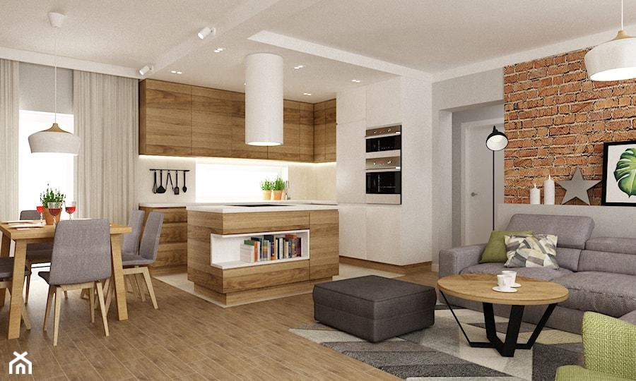 dom ok 100m2 metamorfoza Średni salon z kuchni� z