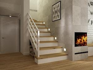 dom warszawa 120m2 - Średnie schody dwubiegowe drewniane, styl nowoczesny - zdjęcie od Grafika i Projekt architektura wnętrz