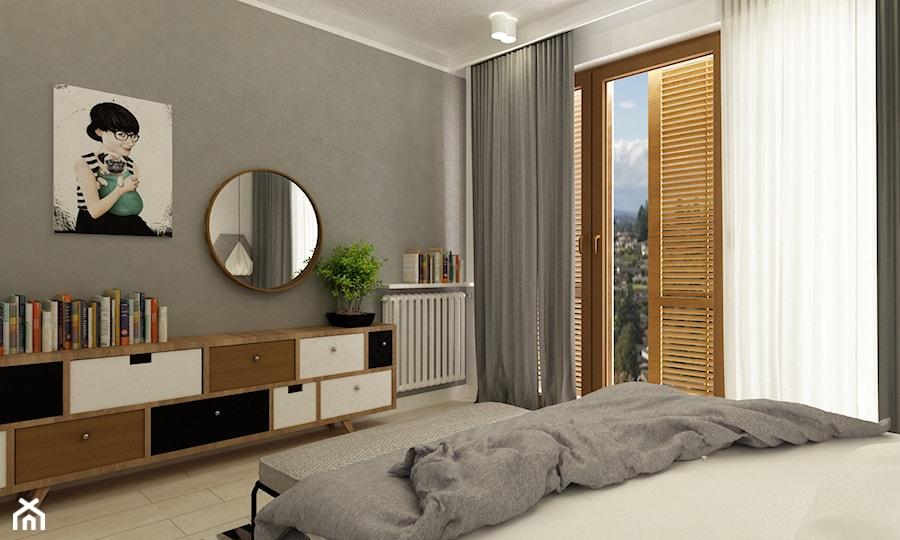 Aranżacje wnętrz - Sypialnia: sypialnie nowoczesne - Średnia szara sypialnia małżeńska z balkonem / tarasem, styl minimalistyczny - Grafika i Projekt architektura wnętrz. Przeglądaj, dodawaj i zapisuj najlepsze zdjęcia, pomysły i inspiracje designerskie. W bazie mamy już prawie milion fotografii!