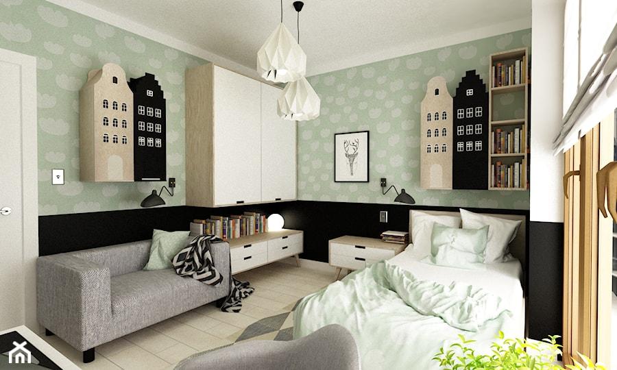 pokój dziecięcy - Średni biały zielony czarny pokój dziecka dla chłopca dla dziewczynki dla ucznia dla nastolatka, styl nowoczesny - zdjęcie od Grafika i Projekt architektura wnętrz