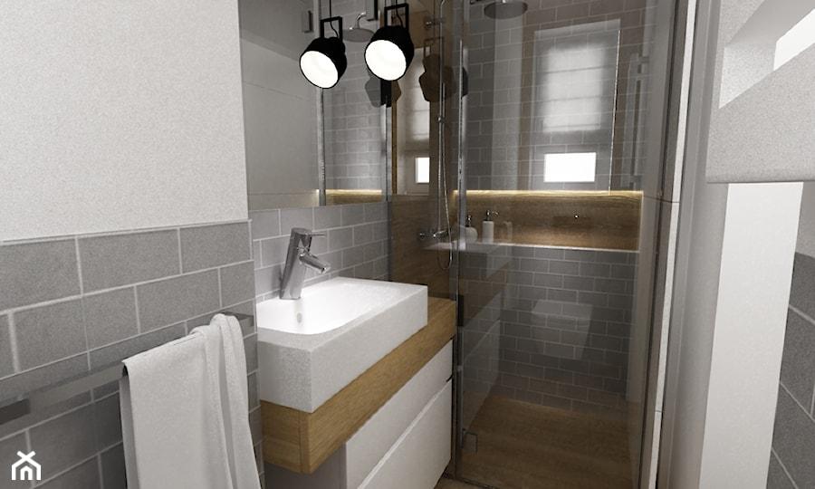 dom Warszawa wawer 170m2 - Mała łazienka w bloku z oknem, styl skandynawski - zdjęcie od Grafika i Projekt architektura wnętrz
