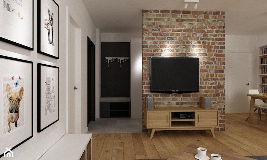 mieszkanie jasne w stylu nowoczesnym/skandynawskim 60m2 - Średni biały hol / przedpokój, styl skandynawski - zdjęcie od Grafika i Projekt architektura wnętrz