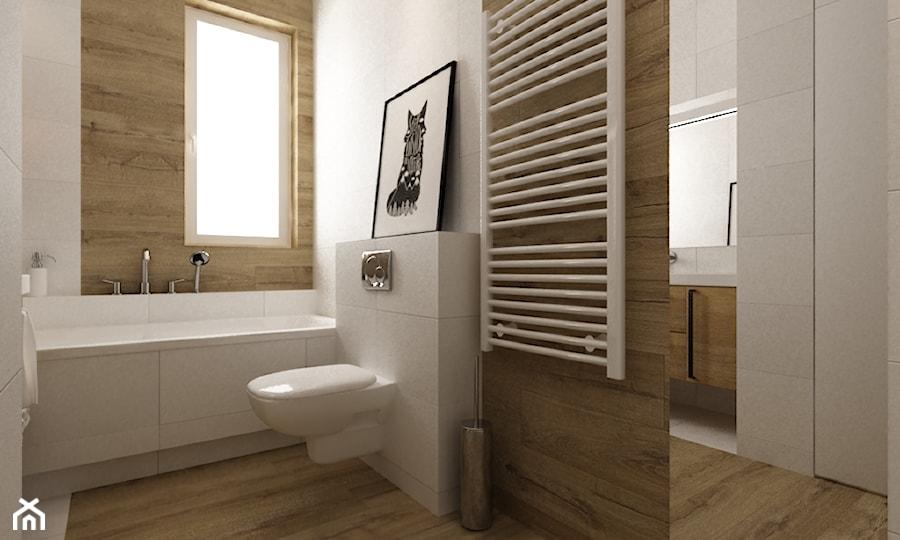 Projekt mieszkania 90m2 ochota - Mała łazienka w bloku w domu jednorodzinnym z oknem, styl skandynawski - zdjęcie od Grafika i Projekt architektura wnętrz