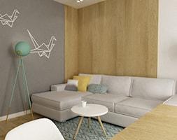 mieszkanie 45 m2 pod biuro/wynajem - Średni szary biały beżowy salon z jadalnią, styl skandynawski - zdjęcie od Grafika i Projekt architektura wnętrz