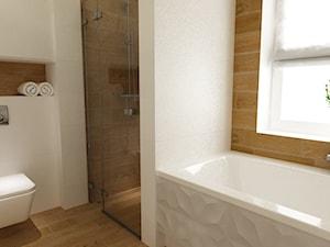dom ok 100m2 metamorfoza - Średnia biała beżowa łazienka, styl nowoczesny - zdjęcie od Grafika i Projekt architektura wnętrz