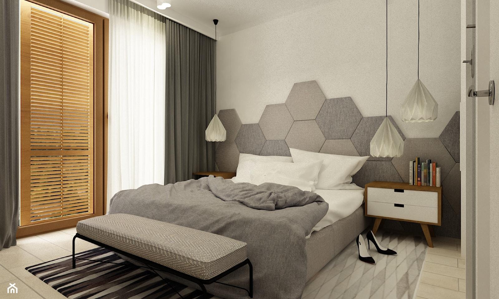 pianohouse powisle warszawa mieszkanie 73 m2 - Średnia biała szara sypialnia małżeńska z balkonem / tarasem, styl nowoczesny - zdjęcie od Grafika i Projekt architektura wnętrz - Homebook