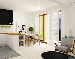 pianohouse powisle warszawa mieszkanie 73 m2 - Mała otwarta biała jadalnia w kuchni w salonie, styl nowoczesny - zdjęcie od Grafika i Projekt architektura wnętrz