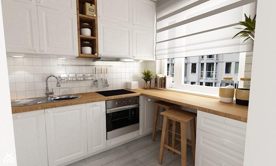 """metamorfoza kawalerki """"mała prowansja"""" - Średnia biała kuchnia w kształcie litery l w aneksie, styl prowansalski - zdjęcie od Grafika i Projekt architektura wnętrz"""