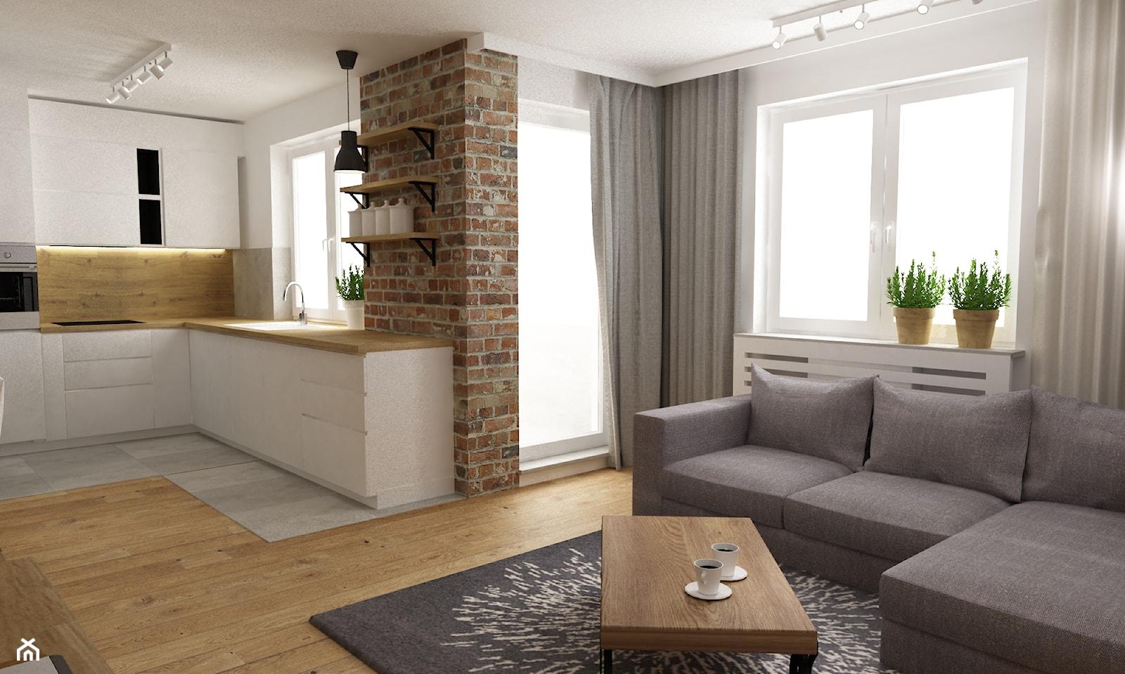 mieszkanie jasne w stylu nowoczesnym/skandynawskim 60m2 - Średni biały salon z kuchnią z tarasem / balkonem, styl skandynawski - zdjęcie od Grafika i Projekt architektura wnętrz - Homebook