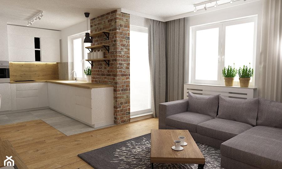 mieszkanie jasne w stylu nowoczesnym/skandynawskim 60m2 - Średni biały salon z kuchnią z tarasem / balkonem, styl skandynawski - zdjęcie od Grafika i Projekt architektura wnętrz