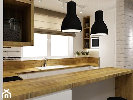 Aranżacje wnętrz - Kuchnia: kuchnia w bieli,drewnie z dodatkami czarnego - metamorfoza - Mała otwarta biała kuchnia w kształcie ... - Grafika i Projekt architektura wnętrz. Przeglądaj, dodawaj i zapisuj najlepsze zdjęcia, pomysły i inspiracje designerskie. W bazie mamy już prawie milion fotografii!