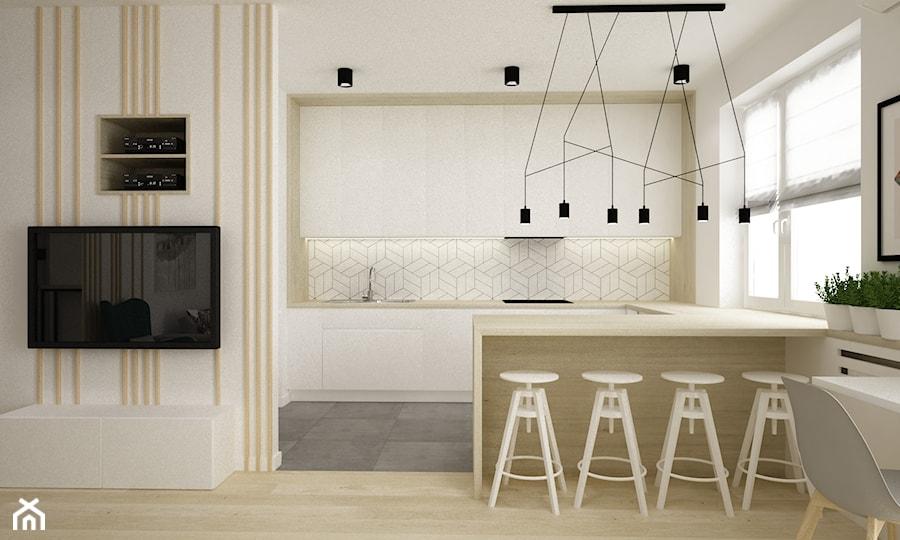 Mieszkanie Kolor Jesion 90m2 Duża Otwarta Biała Kuchnia W