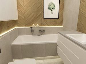 mieszkanie z miętą 80m2 - Mała beżowa szara łazienka w bloku w domu jednorodzinnym bez okna, styl skandynawski - zdjęcie od Grafika i Projekt architektura wnętrz