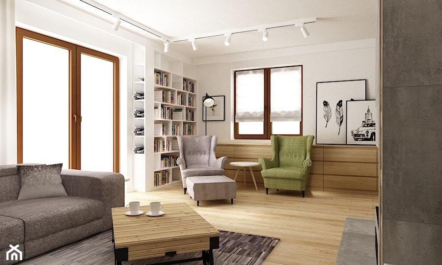 metamorfoza salonu i kuchni dom pod warszawą - Średni biały salon z tarasem / balkonem, styl skandynawski - zdjęcie od Grafika i Projekt architektura wnętrz
