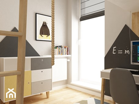 pokój dziecięcy - Mały szary czarny pokój dziecka dla chłopca dla ucznia dla nastolatka, styl skandynawski - zdjęcie od Grafika i Projekt architektura wnętrz