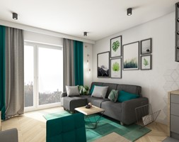 mieszkanie 40m2 lekko industrialne - Mały biały salon, styl industrialny - zdjęcie od Grafika i Projekt architektura wnętrz - Homebook