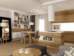 dom ok 100m2 metamorfoza - Mała otwarta biała jadalnia w kuchni w salonie, styl nowoczesny - zdjęcie od Grafika i Projekt architektura wnętrz
