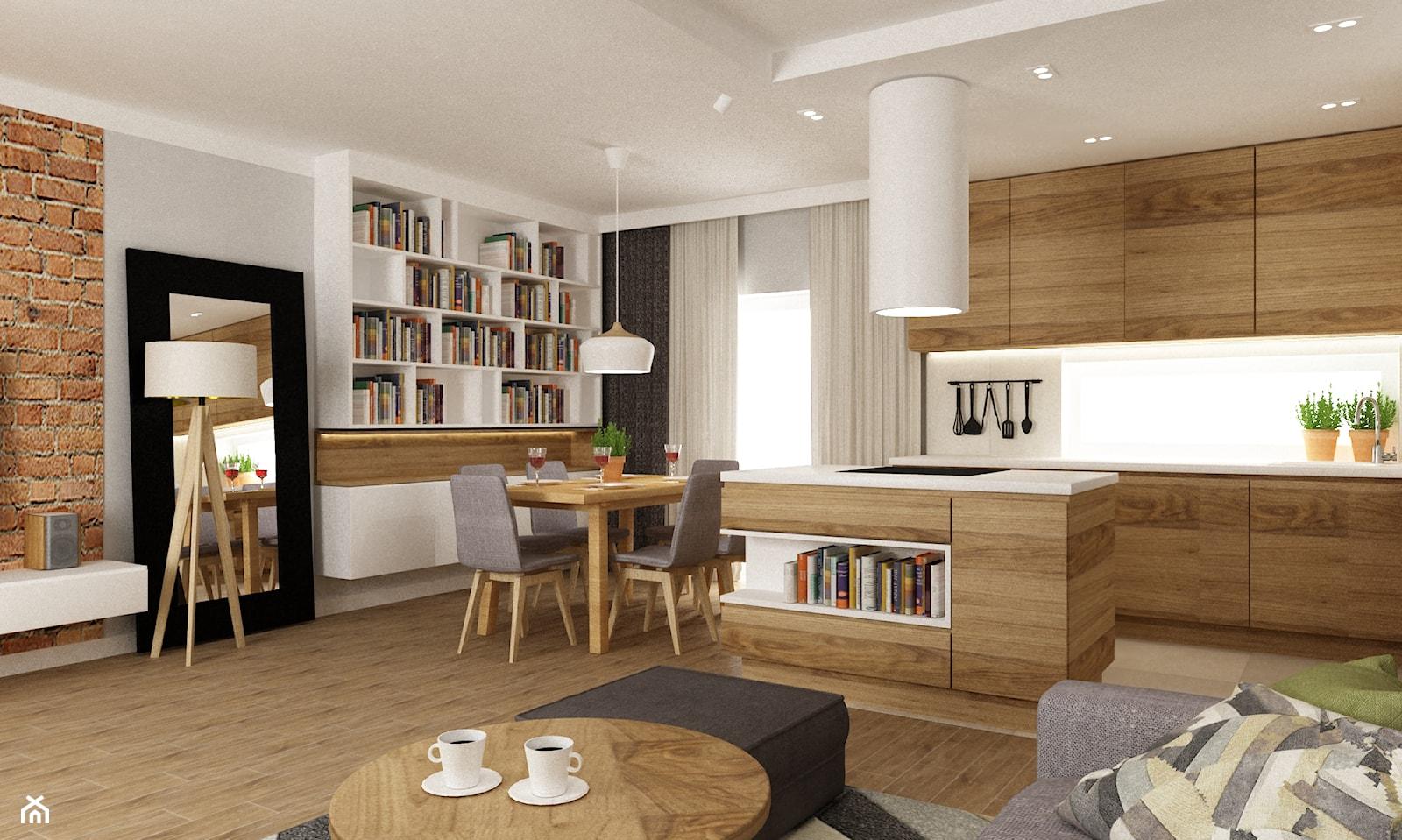 dom ok 100m2 metamorfoza - Mała otwarta biała jadalnia w kuchni w salonie, styl nowoczesny - zdjęcie od Grafika i Projekt architektura wnętrz - Homebook