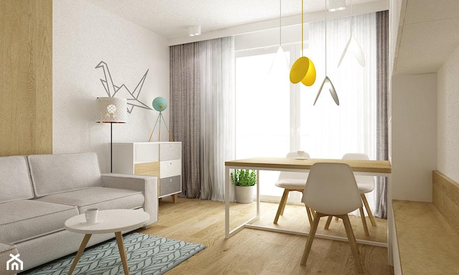 mieszkanie 45 m2 pod biuro/wynajem - Średni biały salon z jadalnią z tarasem / balkonem, styl skandynawski - zdjęcie od Grafika i Projekt architektura wnętrz