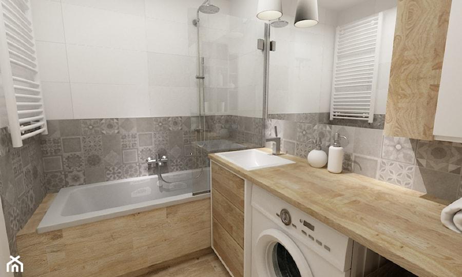 łazienki w stylu skandynawskim - Mała biała szara łazienka ...