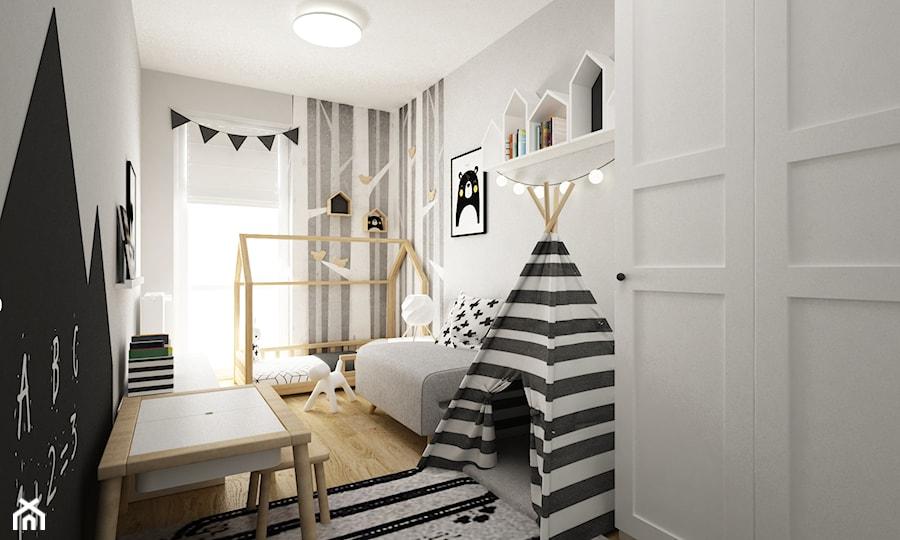 pokój dziecięcy - Średni biały czarny pokój dziecka dla chłopca dla dziewczynki dla ucznia dla malucha, styl skandynawski - zdjęcie od Grafika i Projekt architektura wnętrz