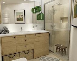 łazienki w stylu skandynawskim - Średnia biała łazienka w bloku bez okna, styl nowoczesny - zdjęcie od Grafika i Projekt architektura wnętrz - Homebook