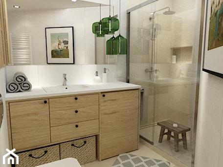 Aranżacje wnętrz - Łazienka: łazienki w stylu skandynawskim - Średnia biała łazienka w bloku bez okna, styl nowoczesny - Grafika i Projekt architektura wnętrz. Przeglądaj, dodawaj i zapisuj najlepsze zdjęcia, pomysły i inspiracje designerskie. W bazie mamy już prawie milion fotografii!