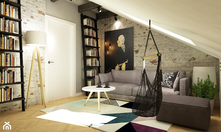 dom Warszawa wawer 170m2 - Mały kolorowy salon, styl skandynawski - zdjęcie od Grafika i Projekt architektura wnętrz