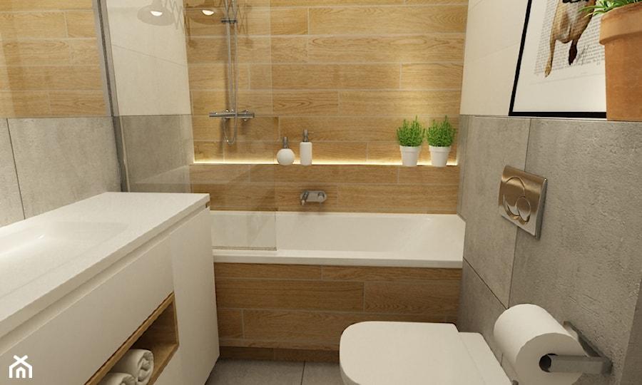 mieszkanie jasne w stylu nowoczesnym/skandynawskim 60m2 - Mała szara łazienka w bloku bez okna, styl nowoczesny - zdjęcie od Grafika i Projekt architektura wnętrz