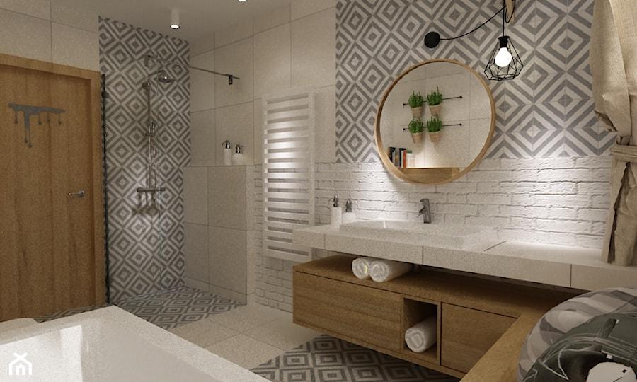 łazienki w stylu skandynawskim - Duża biała szara łazienka w bloku w domu jednorodzinnym, styl skandynawski - zdjęcie od Grafika i Projekt architektura wnętrz