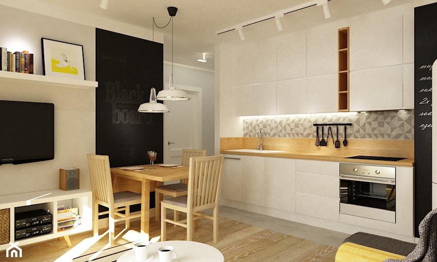 Mieszkanie na Woli Warszawa 54m2 - Duża otwarta beżowa kuchnia jednorzędowa, styl skandynawski - zdjęcie od Grafika i Projekt architektura wnętrz
