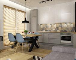 mieszkanie 75m2 słuzew - Średnia otwarta szara kuchnia jednorzędowa w aneksie z oknem, styl skandyn ... - zdjęcie od Grafika i Projekt architektura wnętrz - Homebook