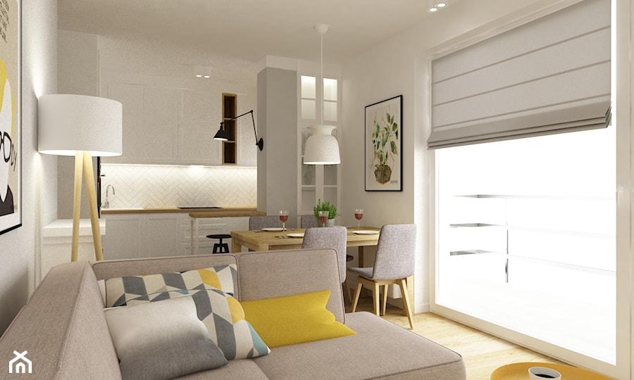 mieszkanie na wawrze 54m2 - Mała otwarta biała jadalnia w kuchni, styl skandynawski - zdjęcie od Grafika i Projekt architektura wnętrz