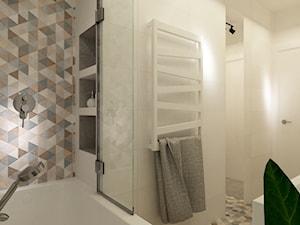 41 m2 pastelowe - Średnia beżowa kolorowa łazienka w bloku bez okna, styl skandynawski - zdjęcie od Grafika i Projekt architektura wnętrz