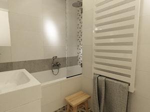 łazienki w stylu skandynawskim - Mała beżowa łazienka w bloku bez okna, styl nowoczesny - zdjęcie od Grafika i Projekt architektura wnętrz