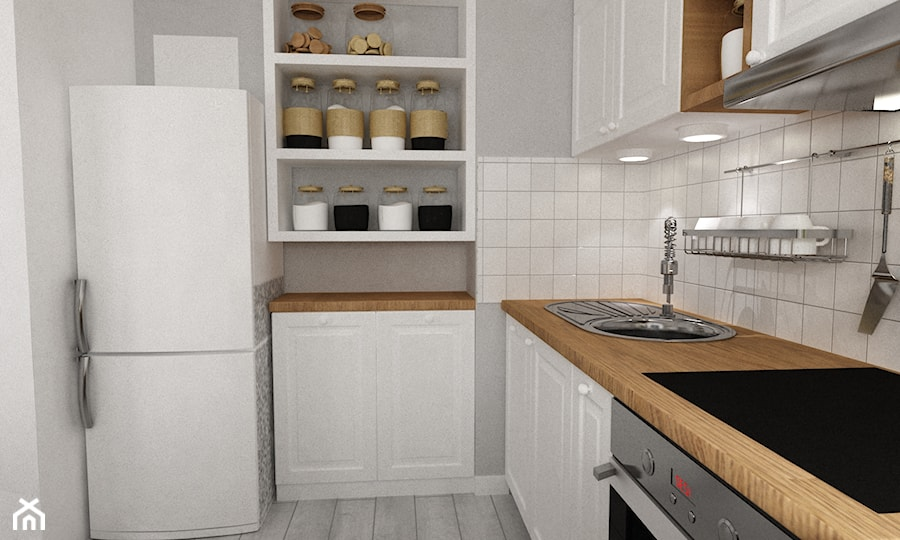 metamorfoza kawalerki  mała prowansja   Średnia kuchnia   -> Kuchnia San Marino Agata Meble