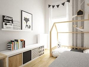 pokój dziecięcy - Mały biały szary pokój dziecka dla chłopca dla dziewczynki dla rodzeństwa dla ucznia dla malucha, styl skandynawski - zdjęcie od Grafika i Projekt architektura wnętrz