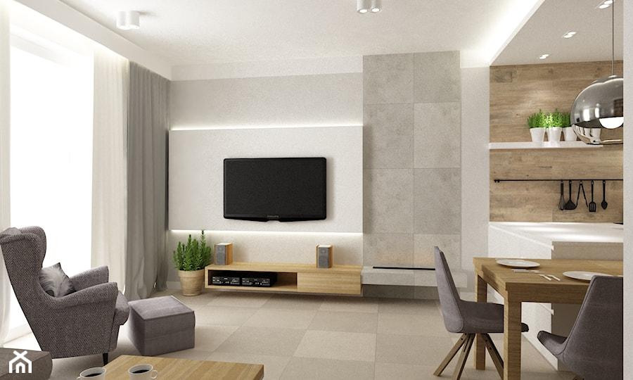 mieszkanie 70m2 ursyn243w salon styl nowoczesny zdjęcie