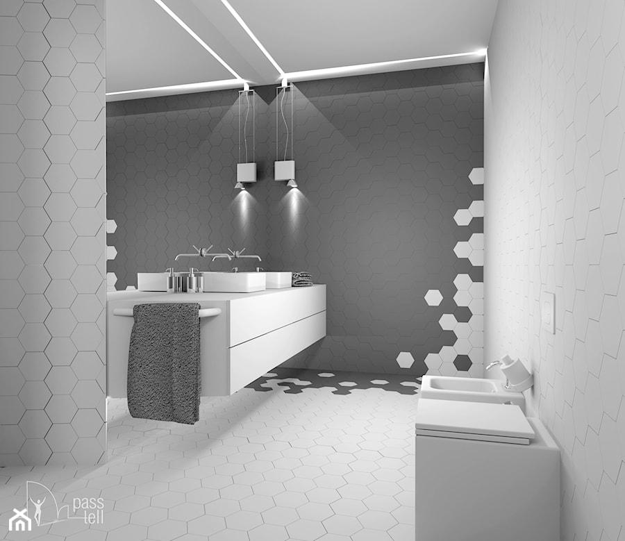 Aranżacje wnętrz - Łazienka: Wodny świat - Średnia duża biała szara łazienka w domu jednorodzinnym bez okna, styl nowoczesny - Pass-tell Pracownia Projektowa. Przeglądaj, dodawaj i zapisuj najlepsze zdjęcia, pomysły i inspiracje designerskie. W bazie mamy już prawie milion fotografii!