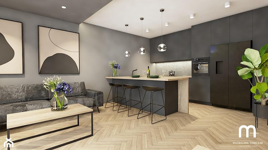 Salon z kuchnią w sercu Poznania - Średnia otwarta szara kuchnia dwurzędowa w aneksie, styl nowoczesny - zdjęcie od Magdalena Tomczak - Architekt wnętrz