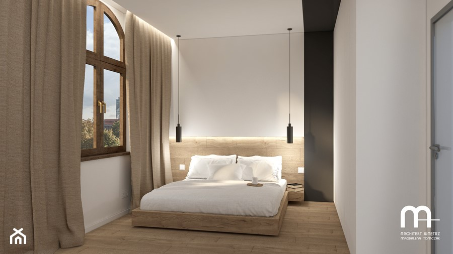 klimatyczne PODDASZE w kamienicy - Średnia szara sypialnia małżeńska, styl nowoczesny - zdjęcie od Magdalena Tomczak - Architekt wnętrz