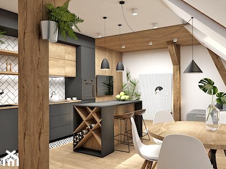 klimatyczne PODDASZE w kamienicy - Mała biała jadalnia w kuchni w salonie, styl nowoczesny - zdjęcie od Magdalena Tomczak - Architekt wnętrz