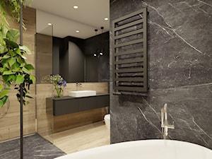 Łazienka na Mokotowie - Średnia czarna łazienka w bloku w domu jednorodzinnym bez okna, styl nowoczesny - zdjęcie od Magdalena Tomczak - Architekt wnętrz