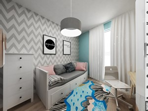 Mieszkanie w Katowicach 65m² - Średni szary pastelowy turkusowy pokój dziecka dla dziewczynki dla nastolatka, styl skandynawski - zdjęcie od More-IN Architekci