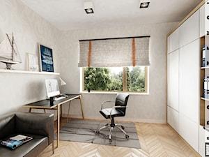 Koszalin - domek jednorodzinny - Średnie beżowe biuro kącik do pracy w pokoju, styl nowoczesny - zdjęcie od More-IN Architekci