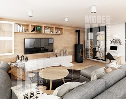Oslo - domek jednorodzinny 200m2 - Duży biały czarny salon, styl skandynawski - zdjęcie od More-IN Architekci