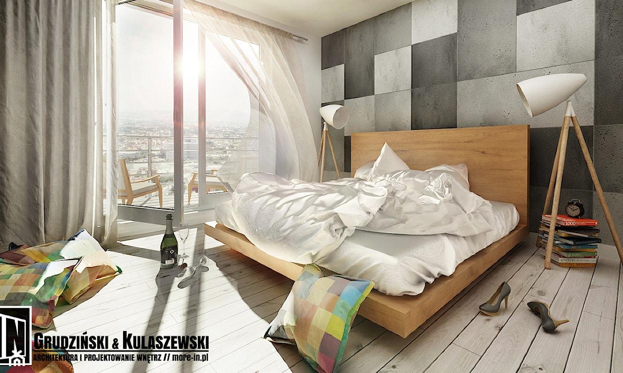 feng shui w sypialni, nowoczesna sypialnia, biała lampa podłogowa, drewniana podłoga, kolorowe poduszki